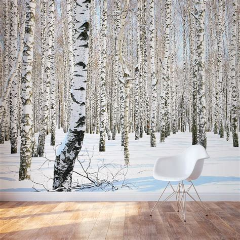 birch tree wall mural winter birch tree wallpaper
