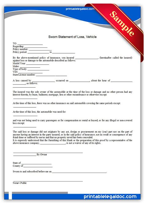 Free Printable Sworn Statement Of Loss Vehicle Form Generic Proof Of Loss Template