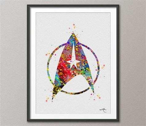 Star Decor For Home Star Trek Command Logo Emblem Watercolor Painting Art