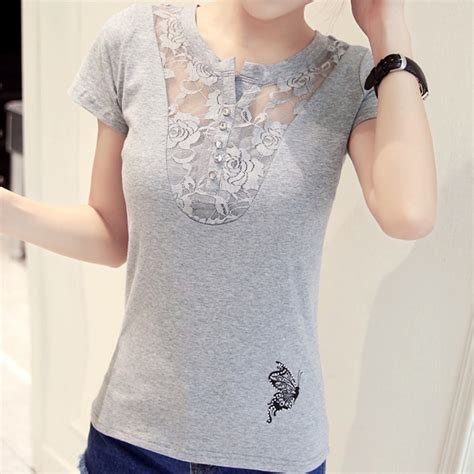 lace t shirt pattern women short sleeve lace t shirt casual blouse butterfly