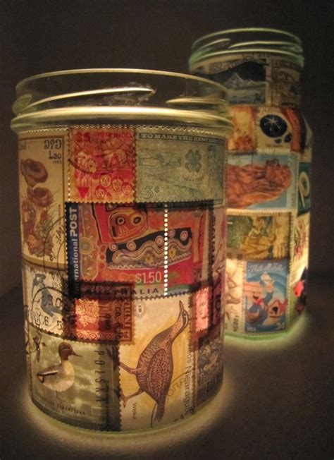Decoupage Candle Jars - st l upcycled glass jar tealight candle holder