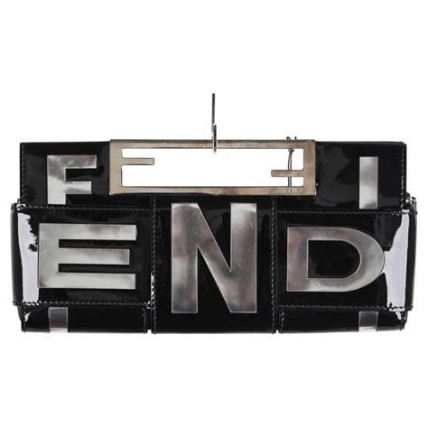 Fendi Crossword Patent Clutch by Fendi Black Patent Leather Crossword Clutch Bag Handbag At
