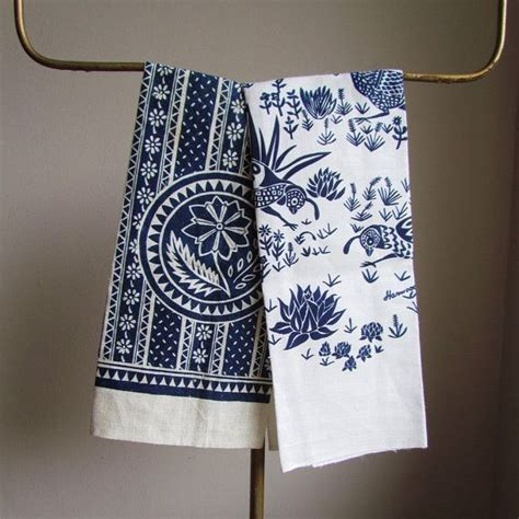 mid century modern kitchen towels harwood steiger navy