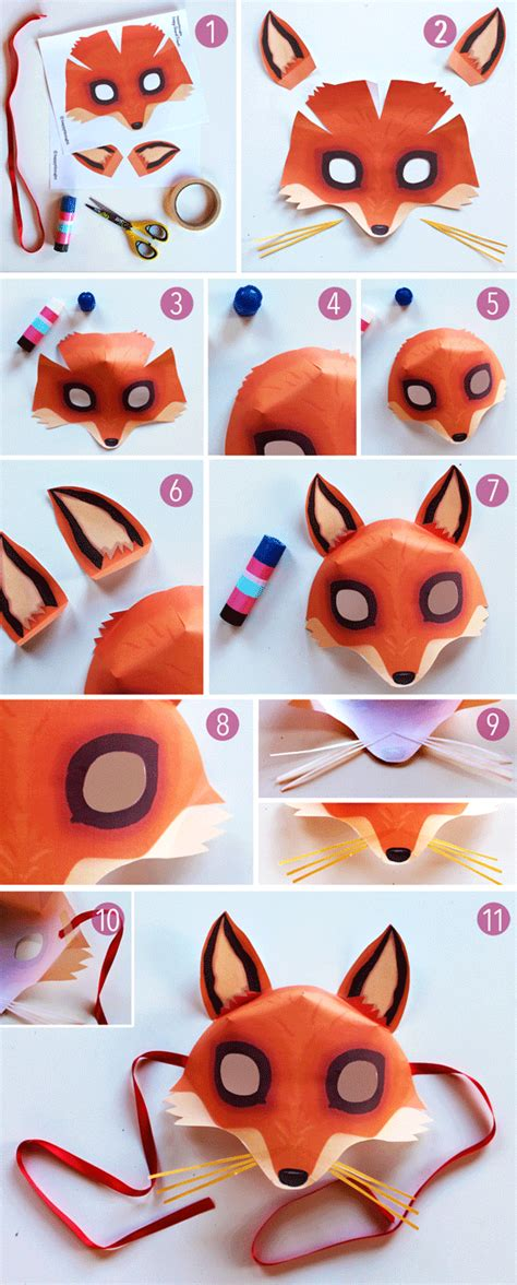 How To Make A Fox Mask Out Of Paper - fox mask template printouts crafts to dress up
