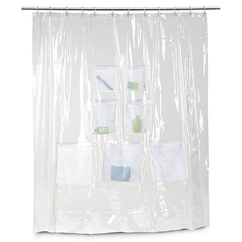 mesh pocket shower curtain vinyl shower curtain with mesh pockets bed bath beyond