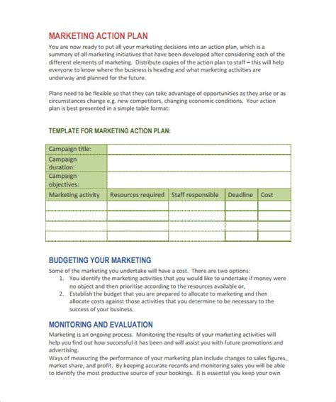 marketing action plan template 9 download documents in