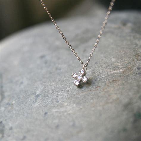 sterling silver swarovski small cross necklace white gold