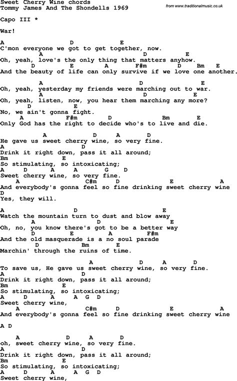 song lyrics with guitar chords for sweet cherry wine