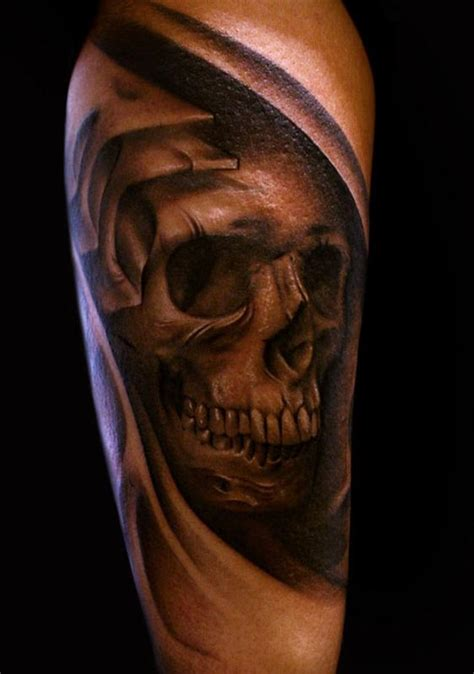 frank sanchez tattoos half sleeve biomechanical skull