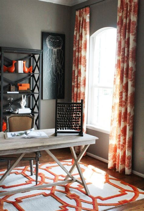 office drapes orange curtains contemporary den library office