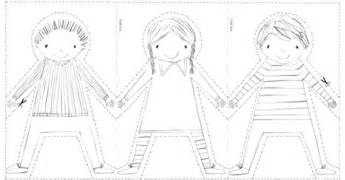 paper cut out templates best photos of paper doll chain printable pattern paper