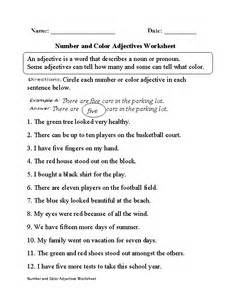 regular adjectives worksheets number and color