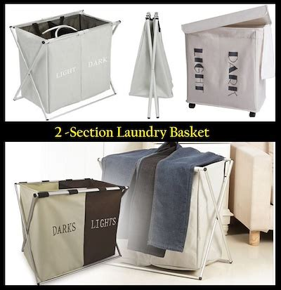 Qoo10 2 Compartment Foldable Laundry Washing Basket 2 Compartment Laundry