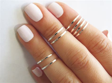8 above the knuckle rings silver stacking ring by hlcollection