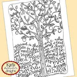 psalm 1 tree bible journaling color instant download art print coloring