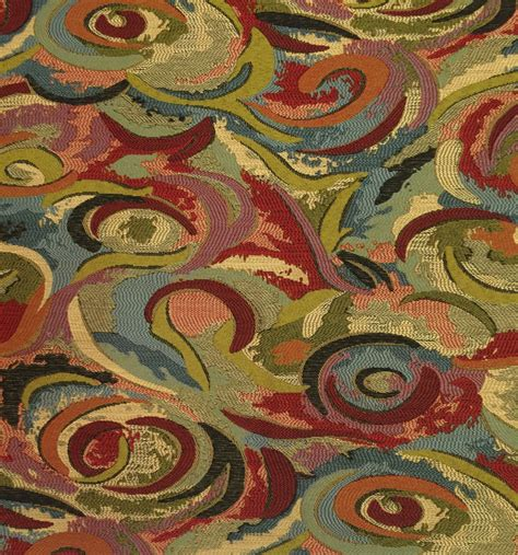 Whimsical Red Green Blue Upholstery Fabric By The Yard
