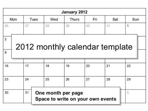 Calendar Template 2012 Monthly 00839 2012 Monthly Calendar Template