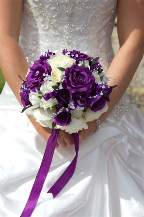 Bridal Arrangements by Purple And White Wedding Bouquets Wedding And Bridal