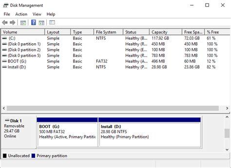 format fs fat32 quick size installer windows 10 224 partir d une cl 233 usb uefi avec un