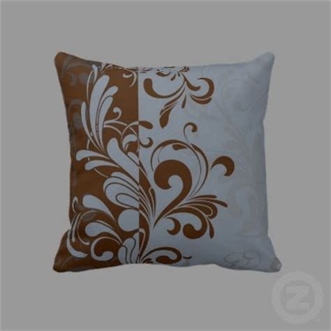Blue Brown Throw Pillows Blue And Brown Swirl Throw Pillow Decorating