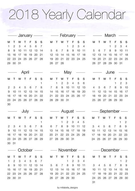 printable yearly calendar canada printable 2018 yearly overview calendar