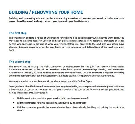 9 Renovation Contract Templates To Download For Free Sle Templates Free Renovation Contract Template