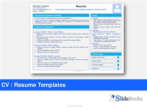 Resume Powerpoint Template by Resume Cv Templates In Editable Powerpoint