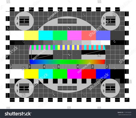 3x4m Greyscreen Broadcast Tv Quality color card test tv screen animated stock vector 115974505