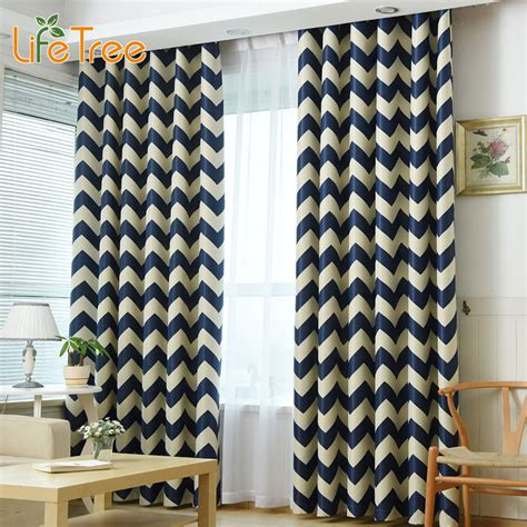 yellow and navy curtains waves printed modern blackout curtains for living room