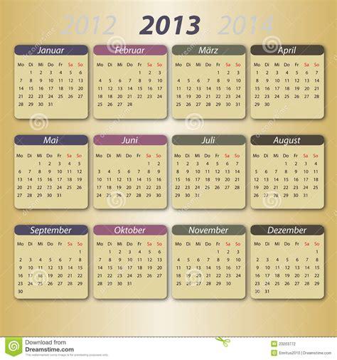 Calendario Aleman Calendario 2013 Fotograf 237 A De Archivo Imagen