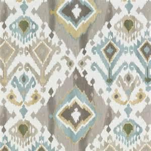 Ikat Drapery Panels Aqua Blue Brown Ikat Upholstery Fabric Custom Blue Gold Ikat
