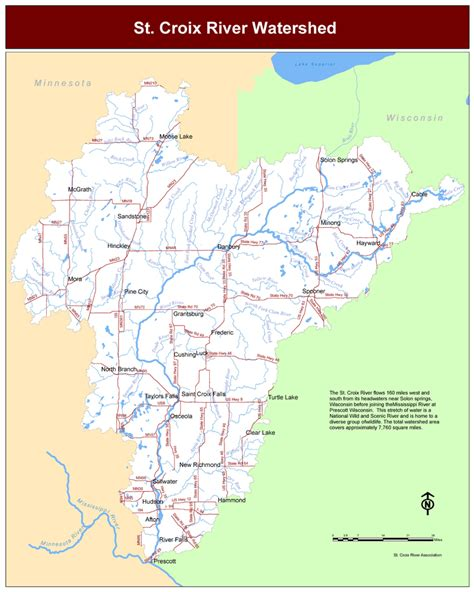 st river map watershed map st croix river association