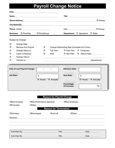 payroll change notice form template payroll change form free documents for pdf