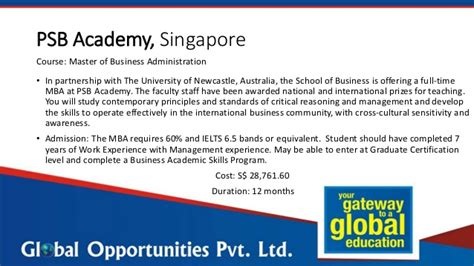 Mba Without Experience In Australia by Study The Mba In Singapore Without Gmat