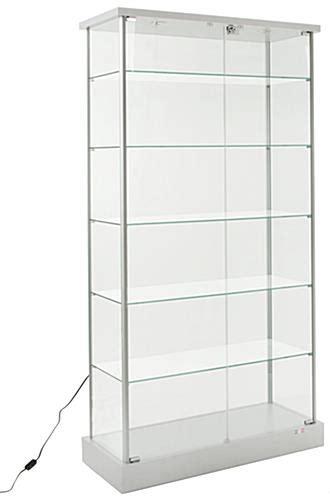 glass display shelves glass display cabinet 4 casters 2 led lights