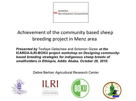 achievement of the community based sheep project in menz area