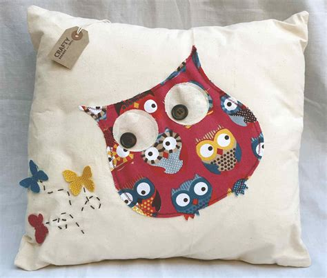 Handmade Soft Furnishings - owl and butterfly design cushion with envelope style