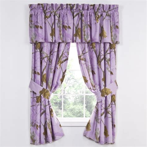 realtree camo curtains realtree lavender camo curtain and valance set