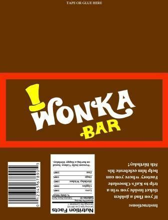 willy wonka chocolate wrapper and golden ticket