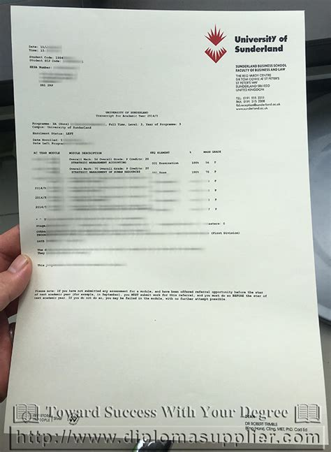 Sunderland Mba by Order A Transcript From Of Sunderland