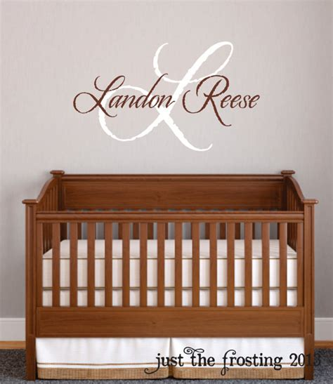 Wall Name Decals For Nursery Baby Boy Nursery Wall Decal Monogram Name Vinyl Lettering