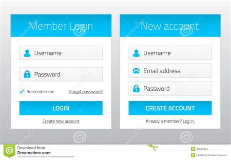 header login design member login and new account website forms stock vector