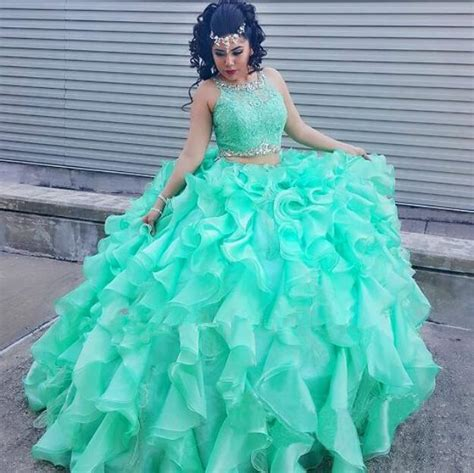 Mint Green Two Piece Quinceanera Dresses 2016 Ruffles Organza Girls Vestidos De 15 Anos Lace