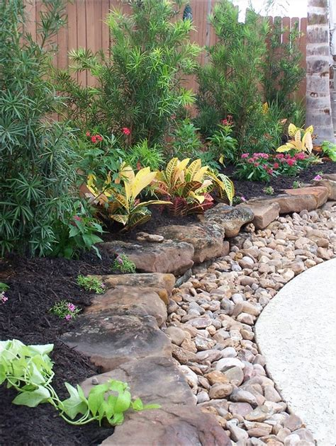 flower beds with rocks rustic flower beds with rocks in front of house ideas 6