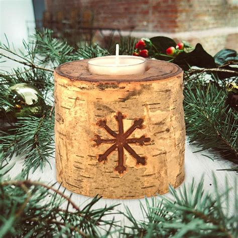 birch snowflake carved wood tealight candle holder white