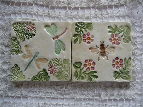 Handmade Ceramic Tiles - handmade ceramic tiles honeybee and dragonfly designs
