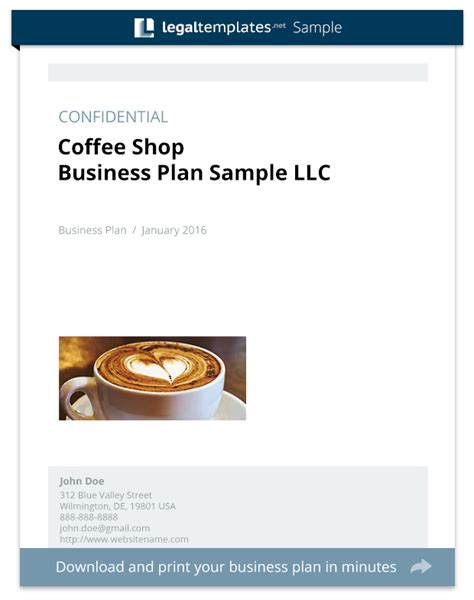Coffee Shop Business Plan Template coffee shop business plan sle templates