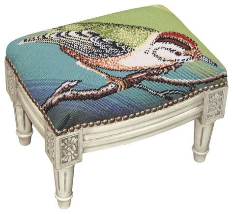 needlepoint ottoman bird on blue background needlepoint small footstool