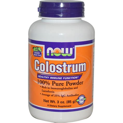 supplement j for niw now foods colostrum 100 powder 3 oz 85 g iherb
