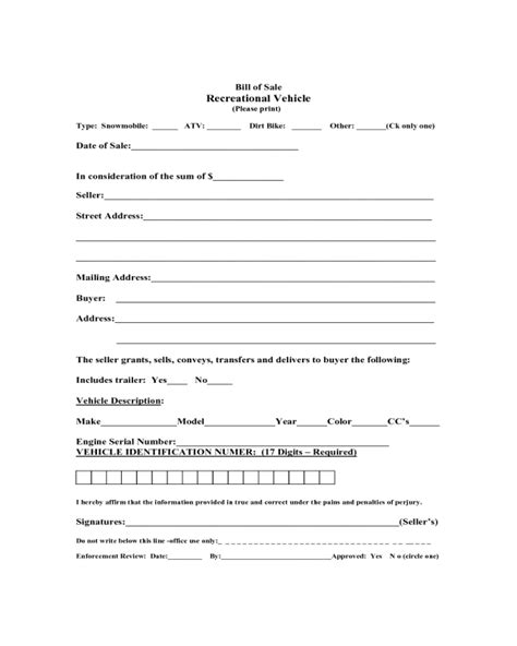 boat bill of sale form massachusetts 2018 recreational vehicle bill of sale form fillable